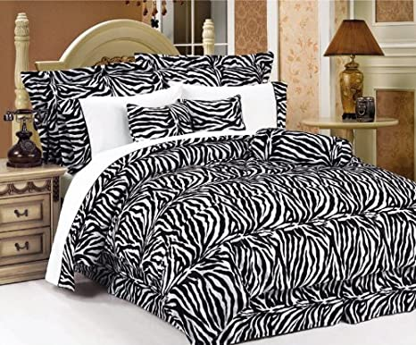 7Pcs Queen Zebra Animal Kingdom Bedding Comforter Set