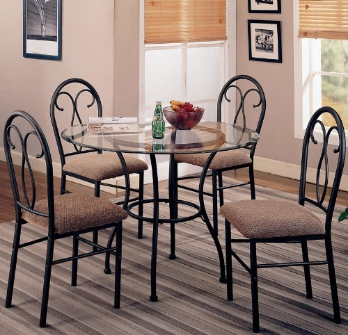 Buy Low Price Coaster 5pc Dining Table and Chairs Set Metal Base Dark Brown Finish (VF_120565)