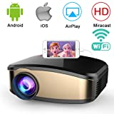 Wireless WiFi Projector,Weton Portable Mini LED Video Projector Full HD 1080P Home Theater Movie Projector with HDMI USB VGA SD AV for Home Cinema Xbox ONE 130'' Max Display (C6-Upgraded) (Color: Gold)