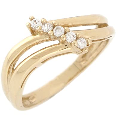 9ct Yellow Gold White CZ Five Round Stone Ladies Wedding Anniversary Ring