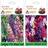 Alkarty Larkspur Fire Mixed And Sweet Peas Spencer Mixed Seeds Pack Of 20 (Winter)
