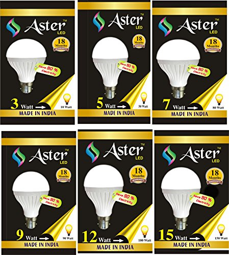 Aster 3W, 5W, 7W, 9W, 12W, 15W B22 LED Bulb (Pack Of 5, White)