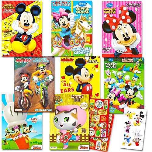 Disney Coloring Books For Kids Toddlers Bulk Set 8 Books And Sticker Pack Mickey Mouse