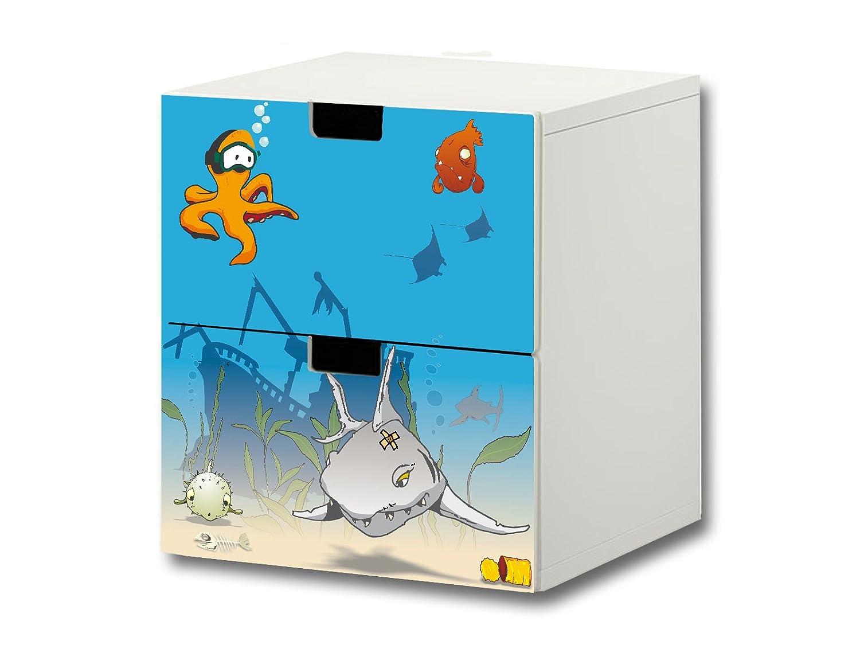 """""""Unterwasserwelt"""" Möbelsticker / Aufkleber – S2K06 – passend für die Kinderzimmer Kommode mit 2 Fächern / Schubladen STUVA von IKEA – Bestehend aus 2 passgenauen Möbelfolien (Möbel nicht inklusive) günstig kaufen"""