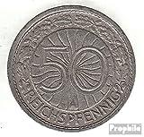 alemán Imperio Jägernr: 324 1928 e muy ya Nickel 1928 50 Reichspfennig águila imperial (monedas para los coleccionistas)