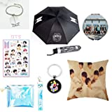 Youyouchard BTS Bangtan Boys,BTS Umbrella+BTS Keychain+Double-sided Pillow Case/Cushion Covers+ BTS Bracelet+Cosmetic Bag+Makeup Mirror+BTS Stickers,Bts Gift for Girls (Color: H01)
