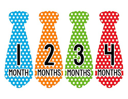 Months in Motion 738 Monthly Baby Stickers Necktie Tie Baby Boy Months 1-12 - 1