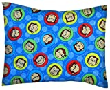 SheetWorld Crib / Toddler Percale Baby Pillow Case - Curious George Blue - Made In USA