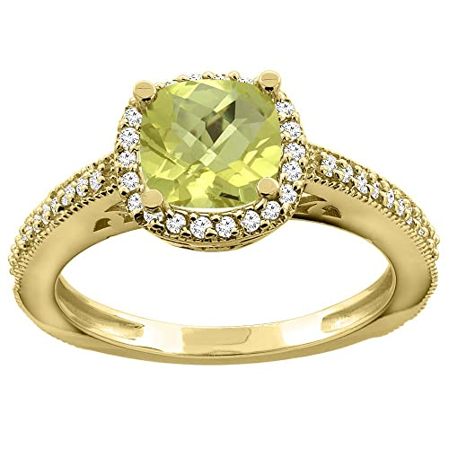 14ct Gold Natural Lemon Quartz Engagement Ring Diamond Halo Cushion 7mm, sizes J - T