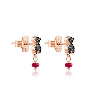 cea4bc7f9 TOUS Motif Black Spinnel and Ruby Bear Stud Earrings