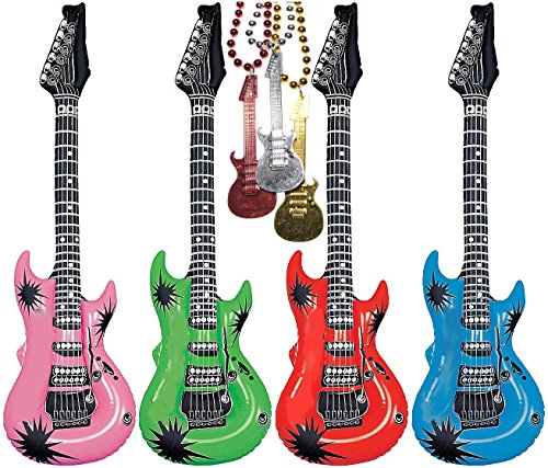 20″ Inflatable Rock Star Electric Guitars Assorted Colors Pack of 24