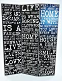 3 Panel Vintage Quote Black White Dressing Room Folding Screen Room Divider (Black)