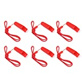 SUNVORE 6 Pcs Safety Whistle Marine Whistle with lanyard for Boating Camping Hiking Hunting Emergency Survival Rescue (Red) (Color: Red)