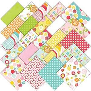 Riley Blake Simply Sweet Charm Pack Stacker, Set of 24 5-inch (12.7cm) Precut Cotton Fabric Squares