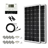 HQST 200 Watt 12 Volt Monocrystalline Solar Panel Kit with 30A Negative-Ground PWM LCD Display Charge Controller