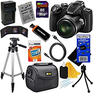 Nikon COOLPIX P530 16.1 MP CMOS Digital Camera with 42x Zoom NIKKOR Lens and Full HD 1080p Video - Black - International Version (No Warranty) + EN-EL5 Battery & AC/DC Battery Charger + 10pc Bundle 16GB Deluxe Accessory Kit w/ HeroFiber Ultra Gentle Clean