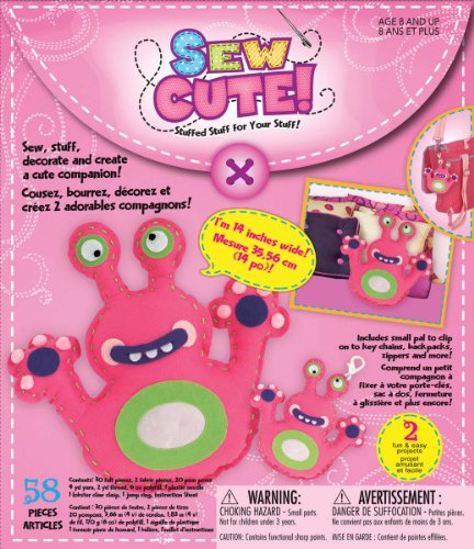 Westrim Sew Cute Craft Box Kit - Makes 2-monster Pink - 1