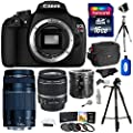 Canon EOS Rebel T5 Digital SLR Camera Body & EF-S 18-55mm IS II with Canon 75-300mm III Lens + 16 GB Storage + Macro Extension Tube Set + Ritz Gear Bag + 2 Tripods + Filter + Polaroid Accessory Kit