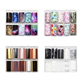 BlueZOO 40PCS Nail Art Foil Transfer Paper Set Starry Sky Flower Stickers Pack Different Colored Nails Decals Wraps Kit DIY Decorations Accessories