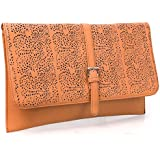 BMC Decorative Cut Out Design Faux Leather Fashion Statement Envelope Clutch
