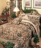 Realtree MAX-4 Camouflage - 8 Pc FULL Comforter Set and Matching Bathroom Shower Curtain (Comforter, 1 Flat Sheet, 1 Fitted Sheet, 2 Pillow Cases, 2 Shams, 1 Bedskirt, 1 Shower Curtain) Decorate your Bathroom and Bedroom and SAVE BIG ON BUNDLING!