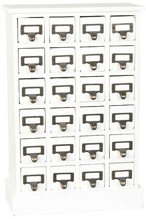 Clayre & Eef 6H0785 armario con cajones{24} cajones Blanco 31 x 15 x 46 cm aprox