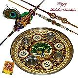 Morpankhi And Rudraksha Set of 3 Rakhi With Pooja Thali