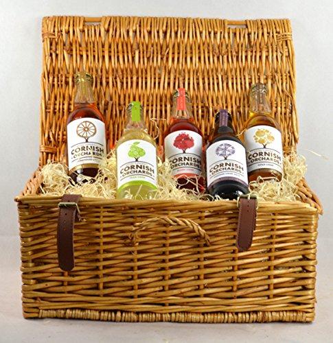 Cornish Orchards Cider Hamper In A Wicker Hamper Basket