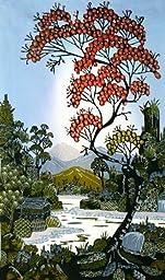 Original Batik Art Painting on Cotton Fabric, \'Village Scenery\' by Hamidi (45cm x 75cm)