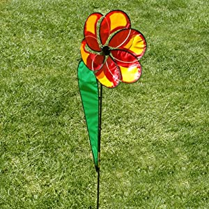 Big Red Daisy Flower Outdoor Lawn Wind Spinner