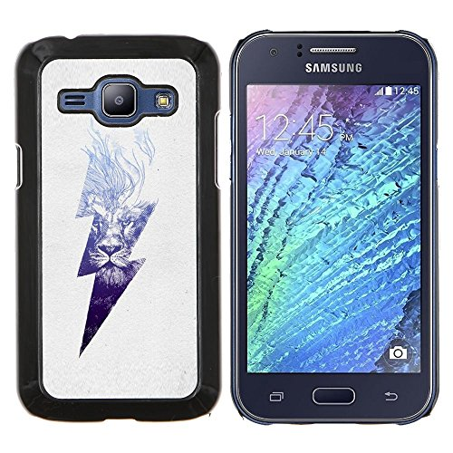 Stuss Case / Premio Sottile Slim Cassa Custodia Case Bandiera Cover Armor PC Aluminium - Danger High Voltage Blitz - Samsung Galaxy J1 J100