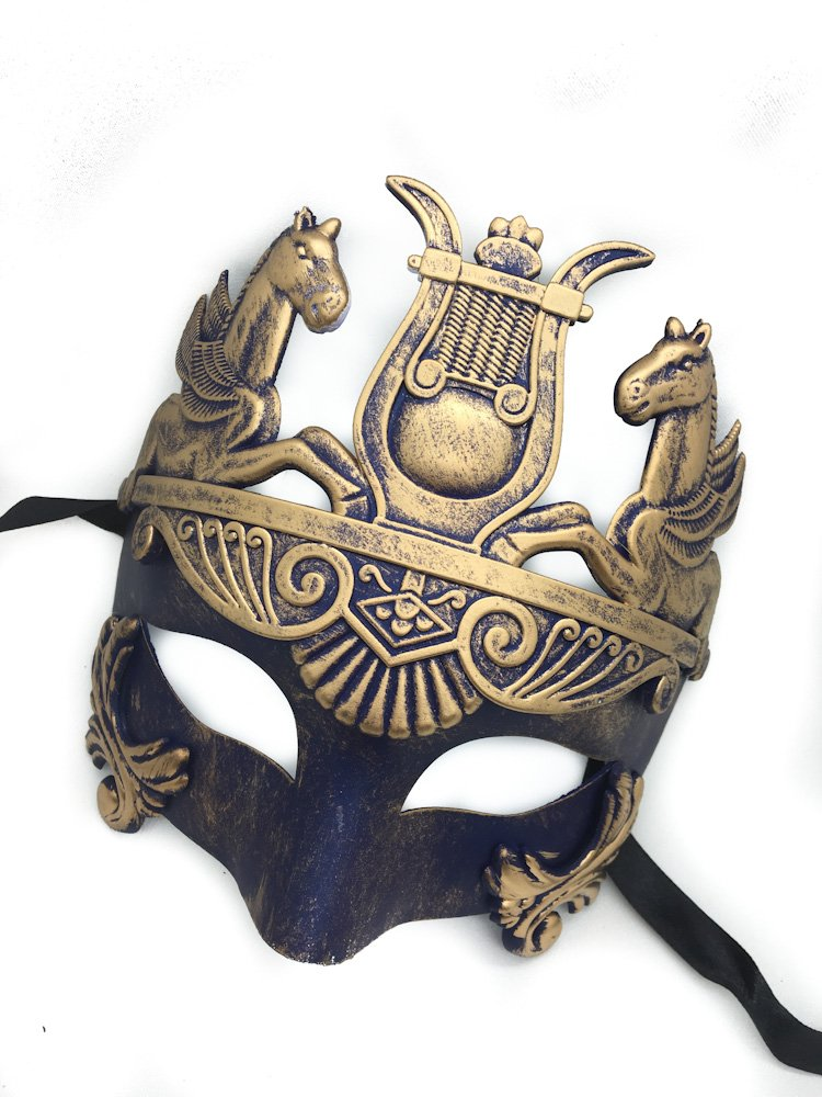 Gold & Silver (Blue) Antique Roman Egyptian Greek Ancient Hercules Mardi Gras Masquerade Mask (Blue/Gold) 2
