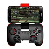 IREALIST Wireless Game Controller PC Gaming Controller, Android Phone Game Controller with Clip and Shock Vibration Feedback for Android, Tablet, PC (Color: Black red)