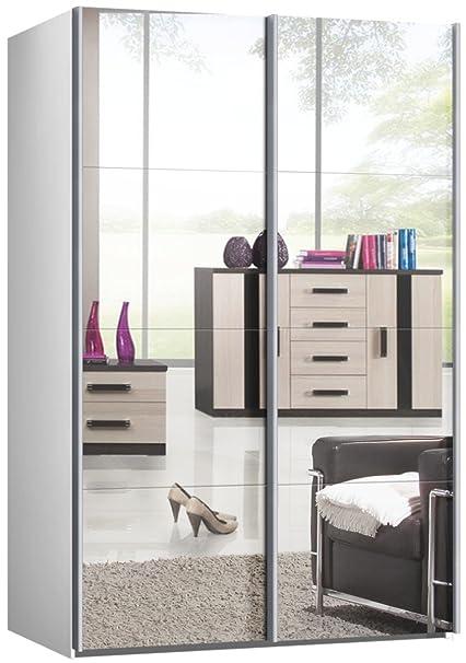 Schwebeturenschrank, Schiebeturenschrank, ca. 150 cm, Weiss mit Spiegel, Kleiderschrank