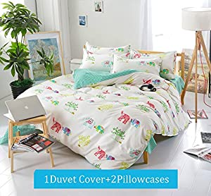 Yunr Lightweight Polyester microfiber Duvet Cover Set, red blue elephants green yellow white trees , Full Queen Size (Full/Queen, Pattern #02)
