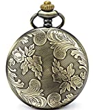 SEWOR Bronze Flowers Vintage Quartz Pocket Watch Shell Dial With Two Type Chain(Leather+Metal) (Bronze)