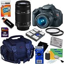 Canon EOS Rebel T3i 18 MP CMOS Digital SLR Camera with EF-S 18-55mm f/3.5-5.6 IS II Zoom Lens + Canon EF-S 55-250mm f/4.0-5.6 IS II Telephoto Zoom Lens + 10pc Bundle 16GB Accessory Kit w/ HeroFiber® Ultra Gentle Cleaning Cloth