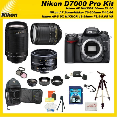 Nikon D7000 16.2MP DX-Format CMOS Digital SLR with 3.0-Inch LCD with Nikon 18-55mm VR AF-S DX Nikkor Autofocus Lens & Nikon 70-300mm G Zoom NIKKOR Lens & Nikon Normal AF Nikkor 50mm f/1.8D with SSE Pro Series 16GB Accessory Package: Including 3 Extra Lenses, 16GB SDHC Card, Backpack, Tripod and much much more...
