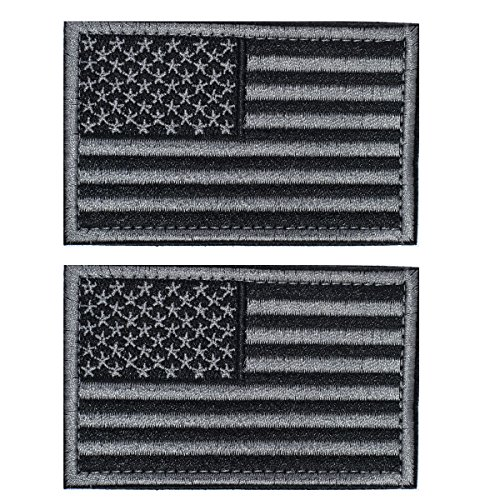 Tactical USA Flag Patch -Black & Gray- Velcro American Flag US United States of America Military Uniform Emblem Patches-2 pieces