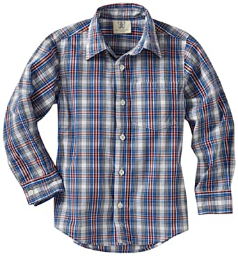 Wes and Willy Little Boys' Long Sleeve Plaid Dress Shirt, Royal, 5