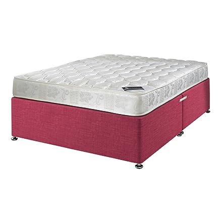 Happy Beds–Materasso a molle Bonnell, con imbottitura di lusso, damascato, con tessuto Base divano, varie opzioni per cassetti, testata non inclusa, Orchid, Doppio piccolo (120 x 190 cm)