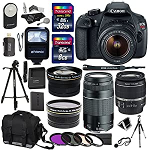 Canon EOS Rebel T5 Digital SLR Camera Body with EF-S 18-55mm IS STM + EF 75-300mm f/4-5.6 III + Polaroid 58mm Wide Angle and 58mm Telephoto Lenses + 32 GB Storage + Tripods + 4 Filters + Deluxe Bag + Extra Accessories