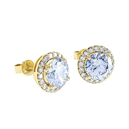 1.3ct Aquamarine and Stardust Diamond 18ct Gold Vermeil Halo Stud Earrings