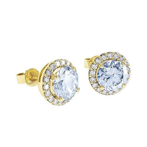 1.3ct Aquamarine and Stardust Diamond 18ct Gold Vermeil Halo Stud Earrings