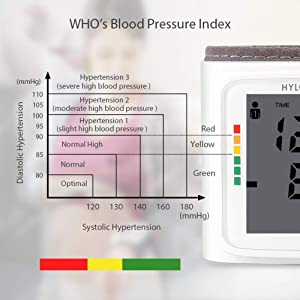 Blood Pressure Monitor HYLOGY Clinically Accurate Automatic Wrist Blood Pressure Cuff Monitor 2 * 120 Memory Storage FDA CE RoHS Approved