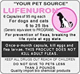 6 Generic Capsules of Lefenuron 95 mg. for dogs and cats between 6 to 25 lbs.