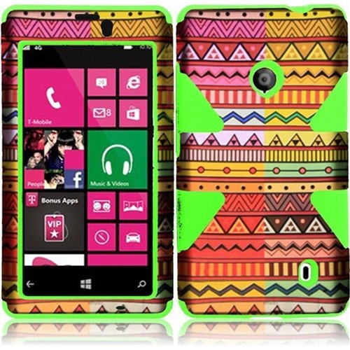 Hr Wireless Dynamic Protective Cover For Nokia Lumia 521 - Retail Packaging - Geometric Aztec/Neon Green
