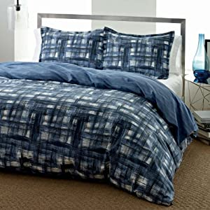 City Scene Ink Wash Indigo Duvet/Sham Set, Blue, Full/Queen