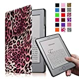 Fintie Kindle 5 & Kindle 4 Ultra Slim Case - The Thinnest and Lightest PU Leather Cover with Magnet Closure (Only Fit Amazon Kindle With 6'' E Ink Display, does not fit Kindle Paperwhite, Touch, or Keyboard), Leopard Pink