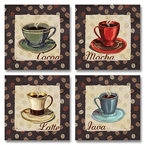Cup of Joe Vintage Coffee Art Print Posters by Paul Brent, 8x8 Set of 4 Wood Mounted Prints; Ready to hang!